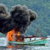 Buum… 29 Kapal Ikan Asing Diledakkan di Laut Natuna