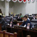 Juru Bicara Fraksi Demokrat, Harlianto saat menyamapaikan Pandum Fraksi